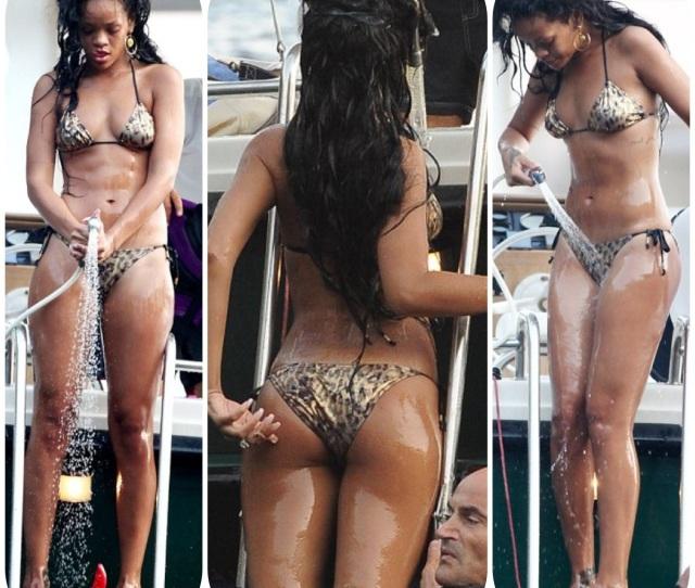 Rihanna Showing Off With A Tiny Bikini In The Coast Of Portofino Italy